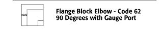 Flange Block Elbow - Code 62 90 Degree with Gauge Port