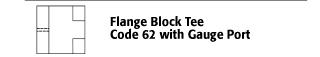 Flat Block Tee - Code 62 with Gauge Port